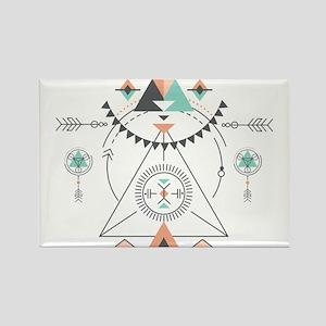 Modern Geometric Tribal Totem Design Magnets