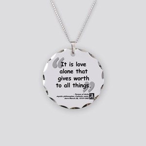 Saint Teresa Love Quote Necklace Circle Charm