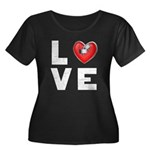 L <3 V E Women's Plus Size Scoop Neck Dark T-Shirt
