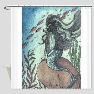 Border Collie dog mermaid Shower Curtain