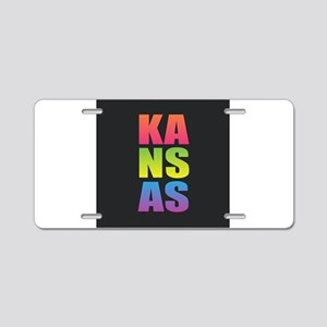 Kansas Black Rainbow Aluminum License Plate