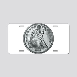1862 Silver Coin Aluminum License Plate