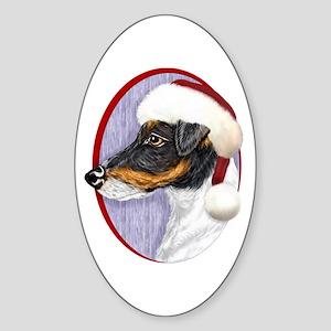 Fox Terrier Santa Oval Sticker