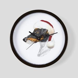 Fox Terrier Santa Wall Clock