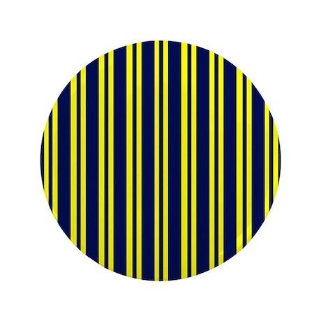 """Navy Yellow Stripes 3.5"""" Button"""