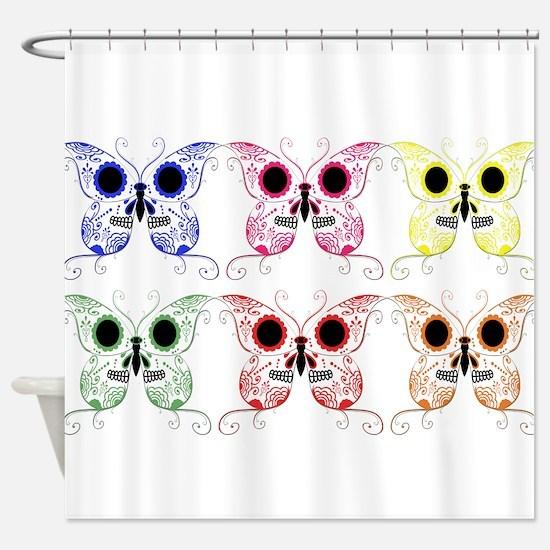 Sugar Skull Butterfly Display Shower Curtain