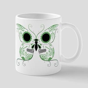 Green Sugar Skull Butterfly Mug