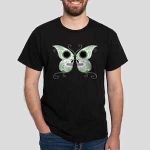 Green Sugar Skull Butterfly Dark T-Shirt