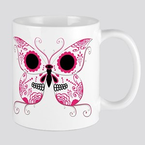 Hot Pink Sugar Skull Butterfl Mug