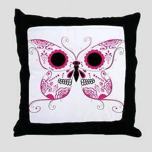 Hot Pink Sugar Skull Butterfl Throw Pillow