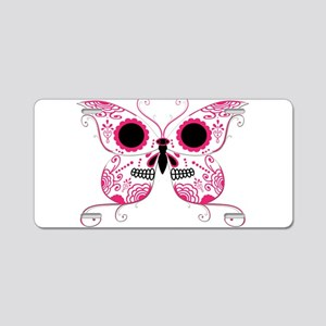 Hot Pink Sugar Skull Butterfl Aluminum License Pla