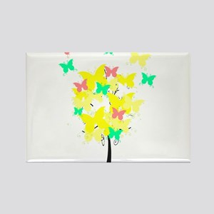 Yellow Butterfly Tree Rectangle Magnet