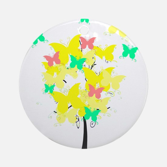 Yellow Butterfly Tree Ornament (Round)