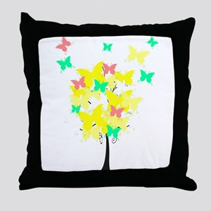 Yellow Butterfly Tree Throw Pillow