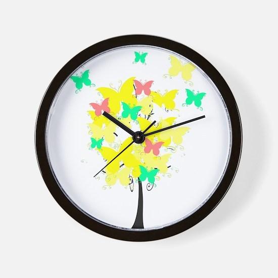 Yellow Butterfly Tree Wall Clock