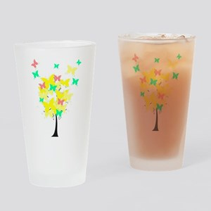 Yellow Butterfly Tree Drinking Glass