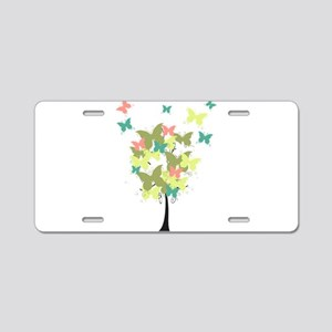 Army Green Butterfly Tree Aluminum License Plate