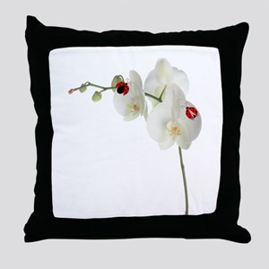 Lady Bug Orchid Throw Pillow