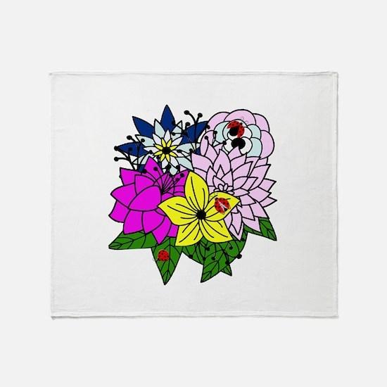 Lady Bug Flower Bed Throw Blanket