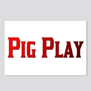 PIG PLAY -RED TEXT Postcards (Package of 8)