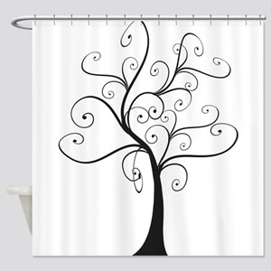 Swirly Tree Shower Curtain