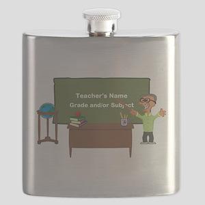 Cartoon Teacher Appreciation Male Flask