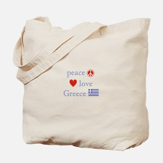 Peace, Love and Greece Tote Bag