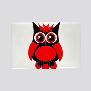 Red Punk Owl Rectangle Magnet