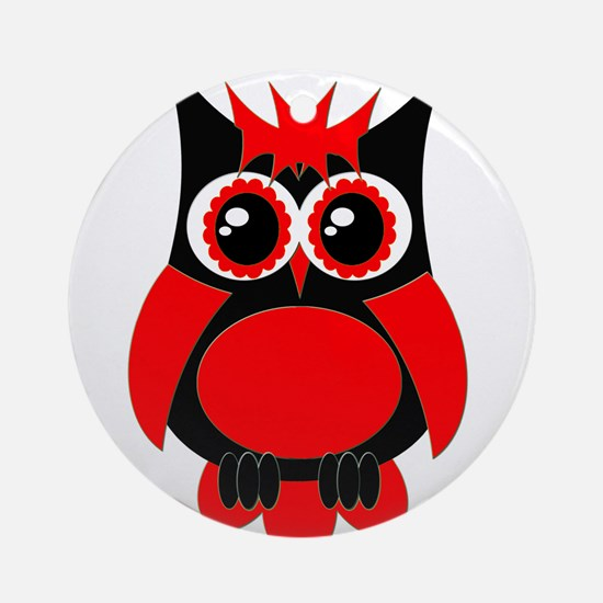Red Punk Owl Ornament (Round)