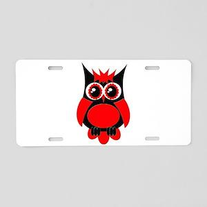 Red Punk Owl Aluminum License Plate
