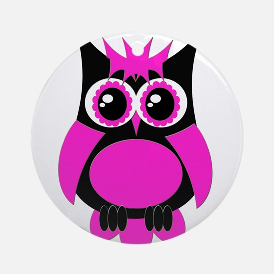 Hot Pink Punk Owl Ornament (Round)