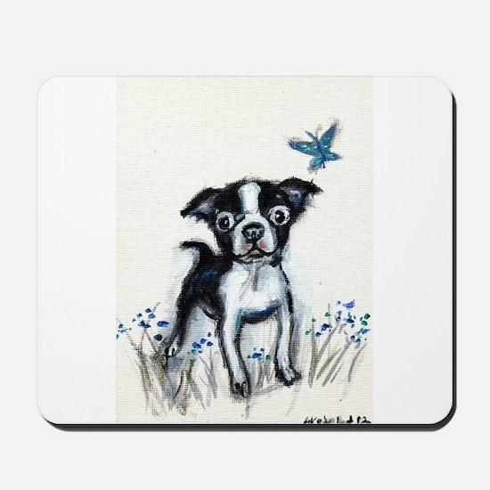 Boston Terrier pup butterfly Mousepad