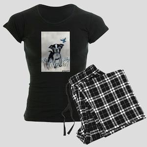 Boston Terrier pup butterfly Women's Dark Pajamas