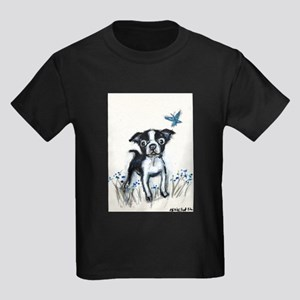 Boston Terrier pup butterfly Kids Dark T-Shirt