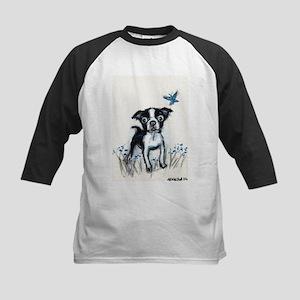 Boston Terrier pup butterfly Kids Baseball Jersey