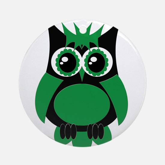Green Punk Owl Ornament (Round)