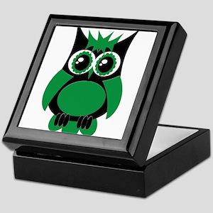 Green Punk Owl Keepsake Box