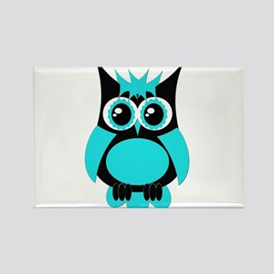 Aqua Punk Owl Rectangle Magnet