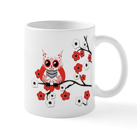 Red & White Sugar Skull Owl i Mug