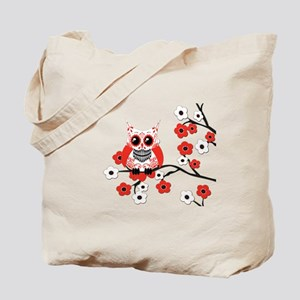Red & White Sugar Skull Owl i Tote Bag