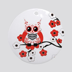 Red & White Sugar Skull Owl i Ornament (Round)
