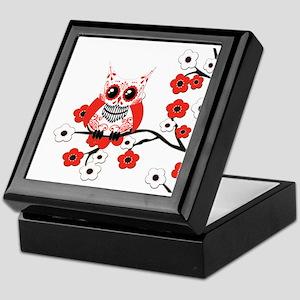 Red & White Sugar Skull Owl i Keepsake Box