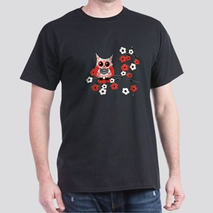 Red & White Sugar Skull Owl i Dark T-Shirt