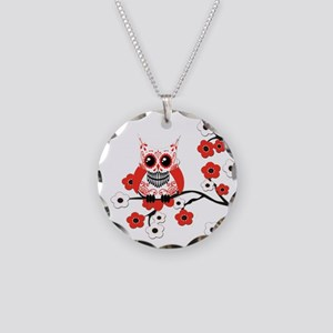 Red & White Sugar Skull Owl i Necklace Circle Char