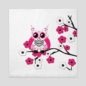 Pink & White Sugar Skull Owl Queen Duvet