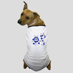 Blue & White Sugar Skull Owl Dog T-Shirt