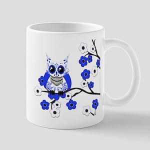 Blue & White Sugar Skull Owl Mug
