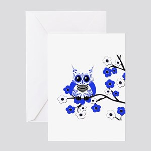 Blue & White Sugar Skull Owl Greeting Card