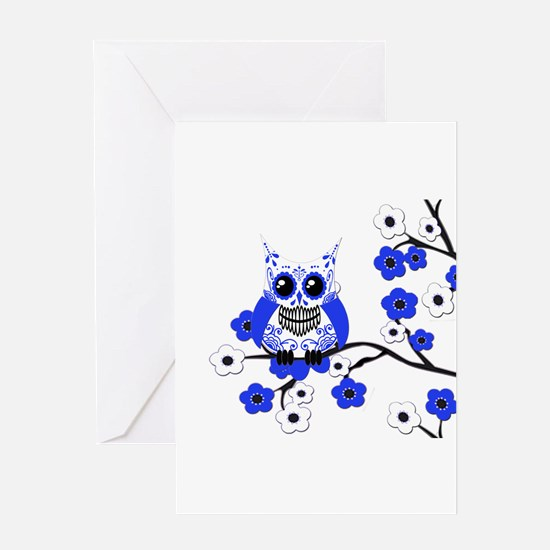 Blue & White Sugar Skull Owl Greeting Card