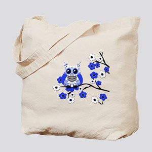 Blue & White Sugar Skull Owl Tote Bag